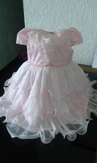 Vestido Infantil Bebê Festa Tamanho 2 Rosa