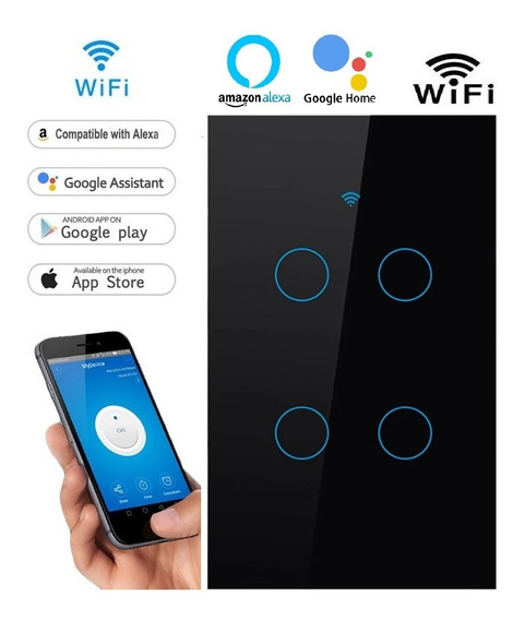 Interruptor 4 Botoes Touch Wifi Alexa Google Home Smart Life