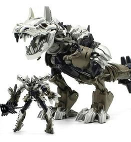 Tranformes Dinobots Robô Bonecos Dinossauro Prateado-black