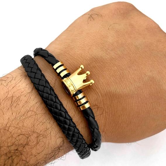 Pulseira Bracelete De Couro Preta Masculino Símbolo Coroa