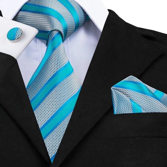 B568 Seda | Corbata Pañuelo Mancuernillas - Plata Azul Menta