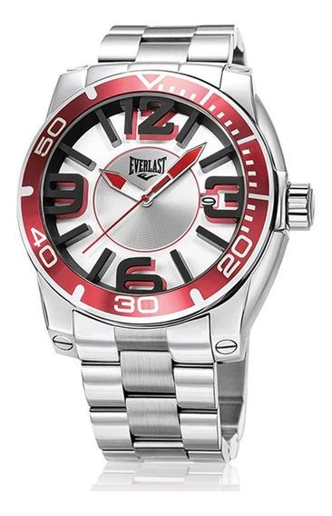 Relógio Pulso Everlast Masculino Aço Calendário Prata E540