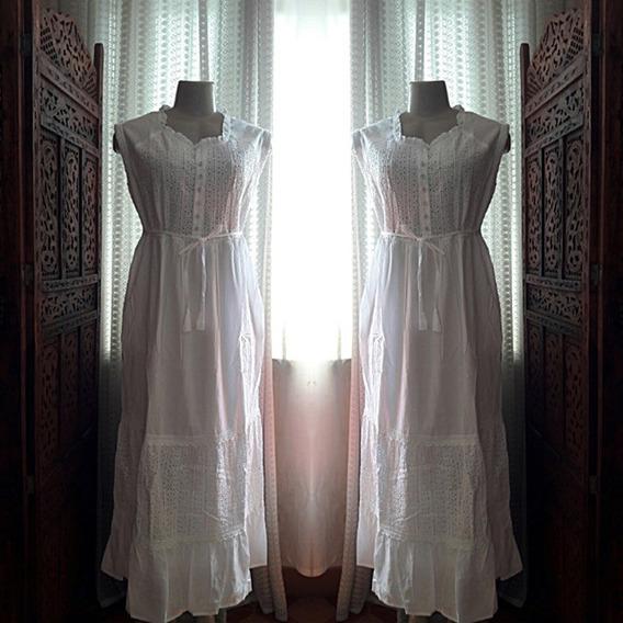 Vestido Longo Branco Laise Renda Guipir Luxo Festa