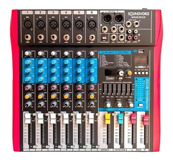 Mesa De Som Soundvoice 6 Canais Ms602 Eux C/ Efeitos Ms0063