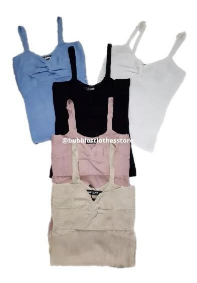 Blusa Linha Tricot Importada Decote Nó Na Frente Alça