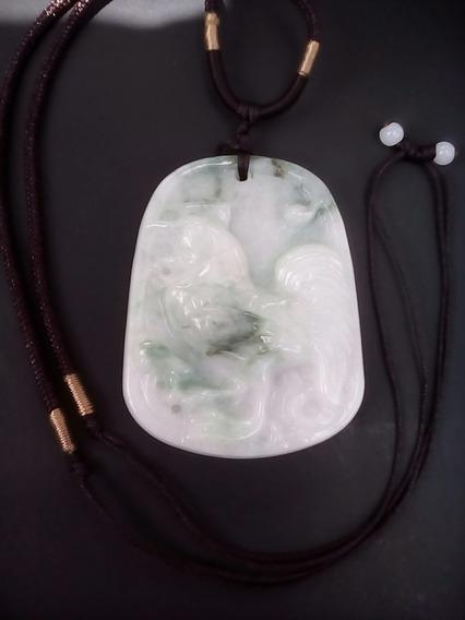Colgante Gallo Tallado En Jade Jadeita Collar