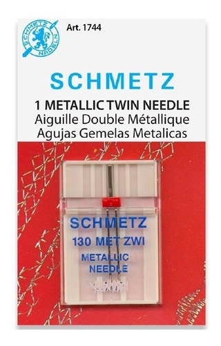 Imagen 1 de 2 de Aguja Gemela Schmetz Metallic Para Máquina De Coser Familiar