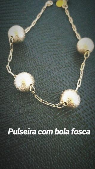 Pulseira C/ Bolas Foscas - 18k - Pronta Entrega
