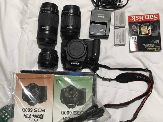Canon T3i - Lente 50mm + 18-55mm + 55-250mm + 2 Baterias