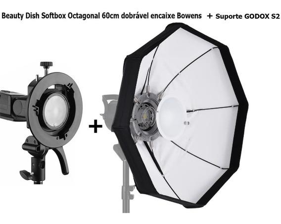 Suporte Godox S2 Encaixe Bowens + Beauty Dish Octagonal 60cm