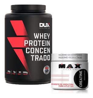Kit Whey Concentrado Dux + Creatina 300g Max Titanium