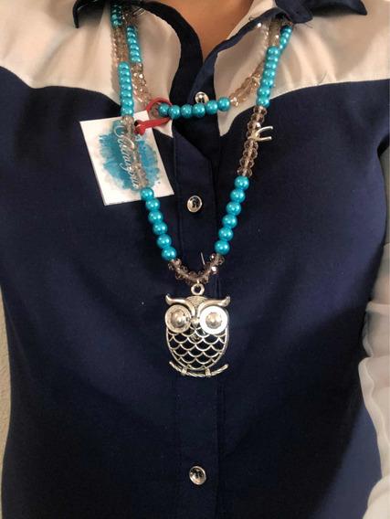 Collar Bisutería Azul Con Cristales Café, Dije Búho