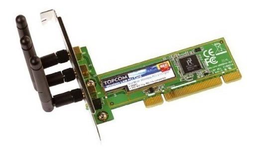 Placa De Red Wifi Pci Topcom 2101gmr 802.11b/g C/ 3 Antenas