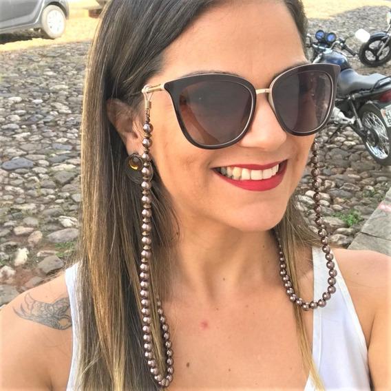 Cordão De Óculos Correntinha Resina Cor Bronze Pele Preto