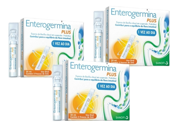 Kit 3 Enterogermina Plus 4 Bcfu/5ml X 5 Frascos Sanofi