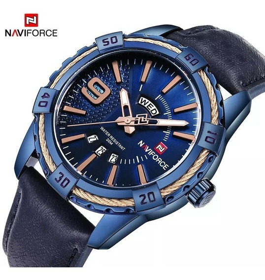 Relógio Masculino Naviforce 9117 Couro Original Analógico