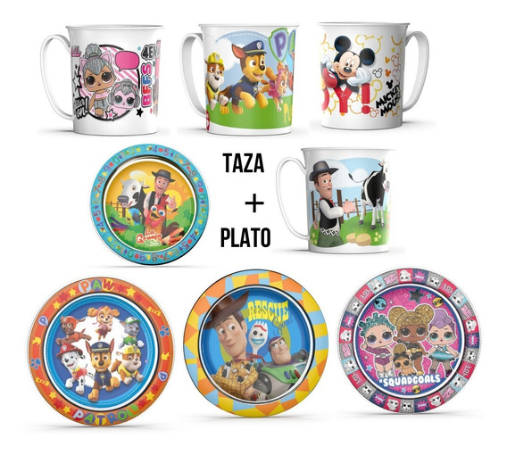 Set Taza + Plato Personajes Paw Mickey Toy Disney Mmk Bn14