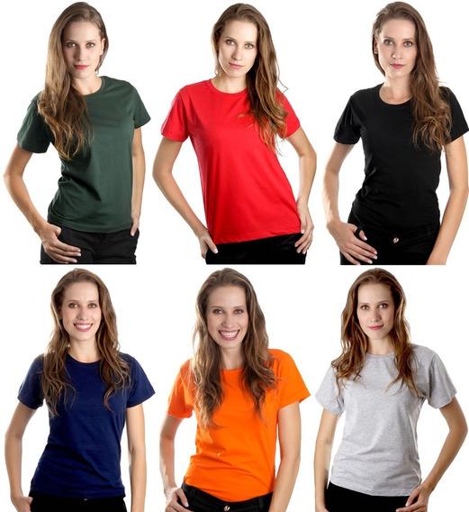 Kit 10 Camisetas Baby Look Feminina Algodão Lisa Blusinha