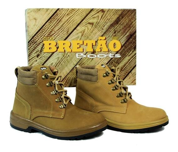 Bota Coturno Bretão Boots De Cadarço Couro Nobuck Original