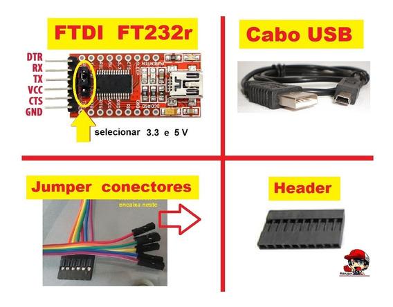 Cabo E Ftdi Ft232r Adaptador Ttl Pra Arduino Mini Esp8266