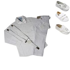 Conjunto Roupa Batizado Menino Infantil Branco Azul 1 A 6 A