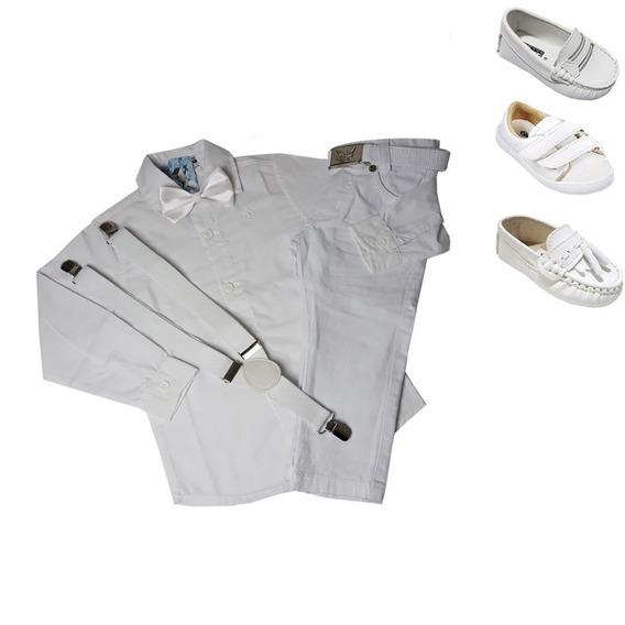 Conjunto Roupa Batizado Menino Infantil Branco Calça 1 A 8 A