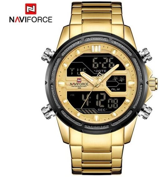 Relógio Naviforce Multifuncional Dourado Design Top De Luxo
