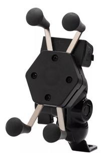 Suporte Garra Celular Moto Universal Carregador Usb + Capa