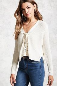 Forever 21 Sweater Tejido Crema Cordones Frente Abiertos Med