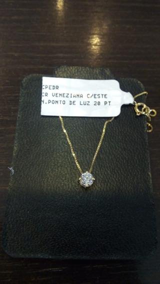 Conjunto Veneziana 45cm Ponto De Luz Brilhante 20pt Ouro 18k