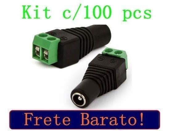 Kit Pacote 100 Plug Conector P4 Femea P/ Cftv Camera Borne