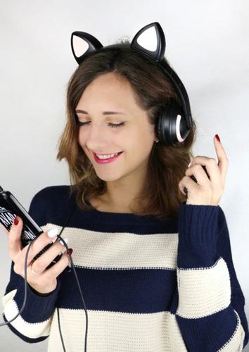 Headphone Orelha De Gato Com Led Bluetooth 5.0 Ear Cat Azul