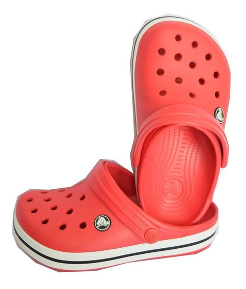 Crocs Crocband Roja Tira Blanca Con Negra Unisex