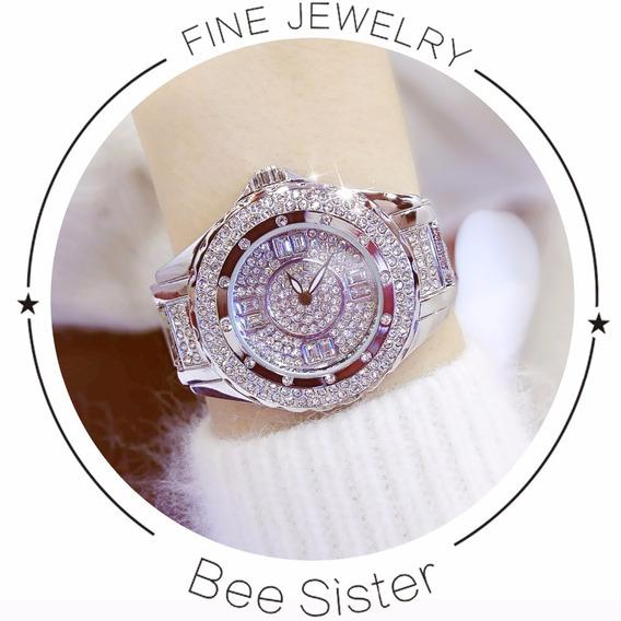 Relógio De Luxo Feminino Strass Bs Bee Sister Zdj051/ Fa0917