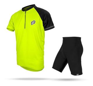 Conjunto Asw Bermuda E Camisa Lazer Amarelo Fluor 19 Ciclism