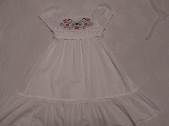 Vestido Blanco Mimo Girlls Talle 12 Bordado Impecable