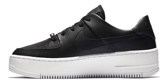 Zapatillas Nike Air Force 1 Sage Low Black White- Mujer
