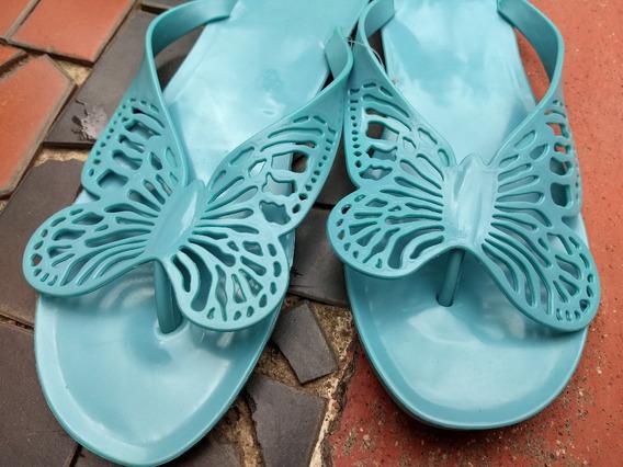 Sandália Borboleta - Rasteira De Plástico - Azul Turquesa