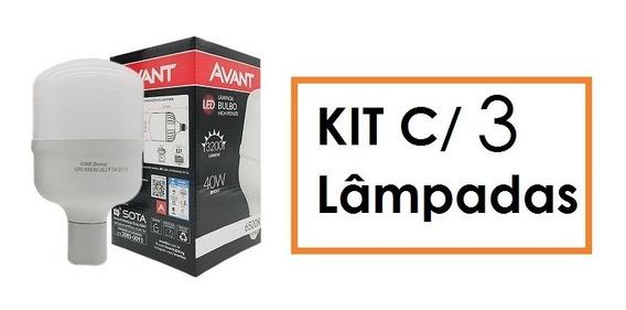 Kit 03 Lâmpadas De Led 40w Bulbo Branco Frio Avant