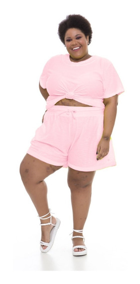 Pré Venda Shorts Plus Size Wonder Size Moletinho Rosa Neon