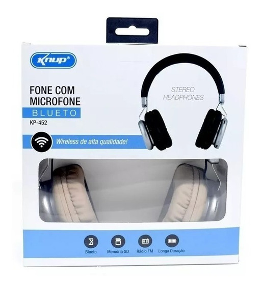 Fone De Ouvido Bluetooth P2 Micro Sd Fm Knup Super Bass