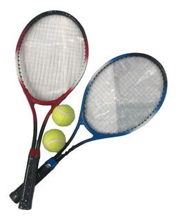 Set De 2 Raquetas De Tenis Con 2 Pelotitas + Funda 1200