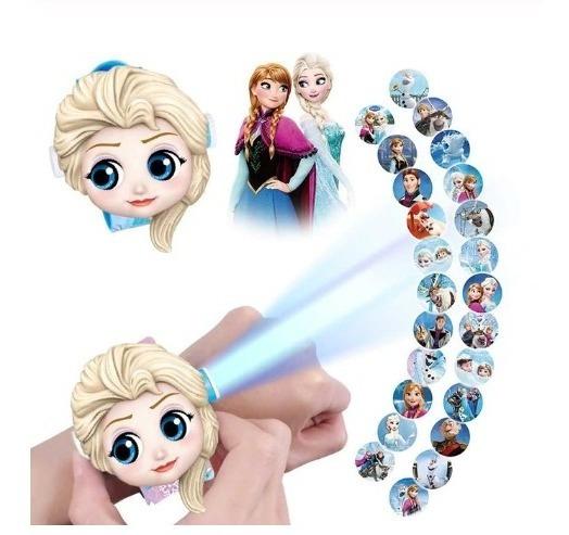 Reloj Niños Proyector De Imagenes Elsa Frozen Caricaturas