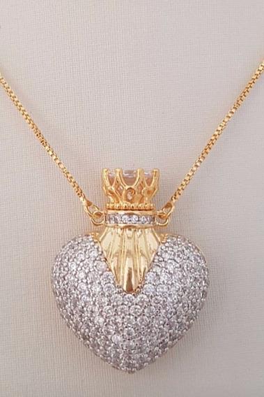 Colar Perfumeiro Coração Semijoia Banho De Ouro 18k Zircônia