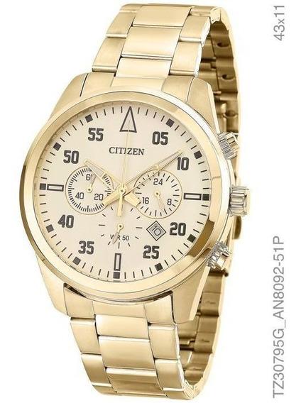 Relogio Masculino Citizen Cronografo Dourado Tz30795g