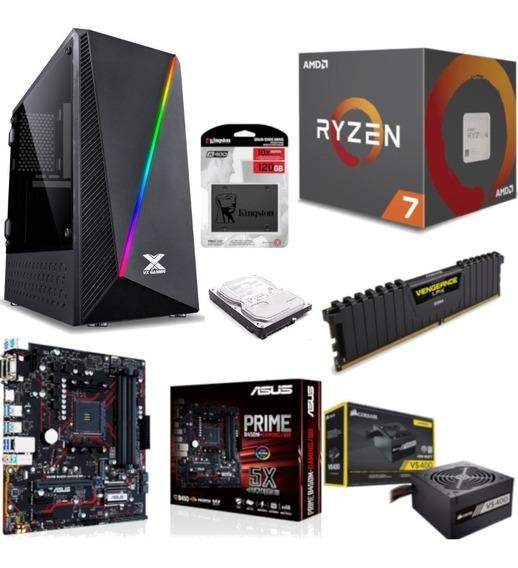 Pc Pyxis R7 2700 B450m Gaming Vg 8gb Vs400 Ssd 120gb Hd 1tb