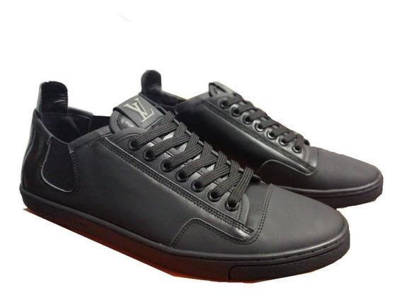 Tenis Sneakers Negros De Piel Lv, Gucci