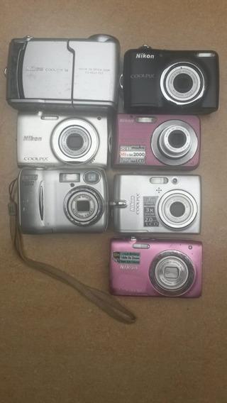 Lote 07 Câmeras Digitais Nikon Com Defeito Para Retirar Peça