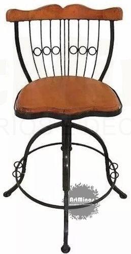 Cadeira Banqueta Ferro Madeira Bistrô C Regulagem Giratória