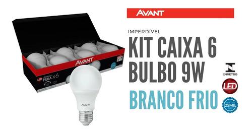 Imagem 1 de 4 de Kit Caixa Pack 6 Lampada Bulbo 9w Branco Frio 6500k Avant